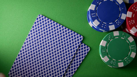 Casino Chips, Aces And King On Green Table At Casino Footage