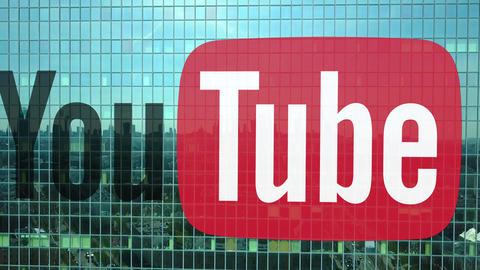 Aerial shot of office skyscraper with YouTube logo. Modern office building Footage