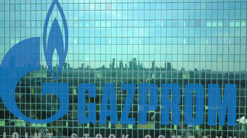 Aerial shot of office skyscraper with Gazprom logo. Modern office building Footage
