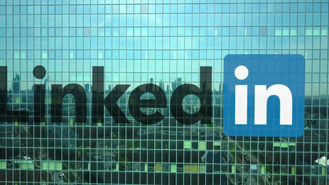 Aerial shot of office skyscraper with LinkedIn logo. Modern office building Footage