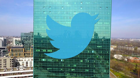 Aerial shot of office skyscraper with Twitter, Inc. logo. Modern office building Live Action