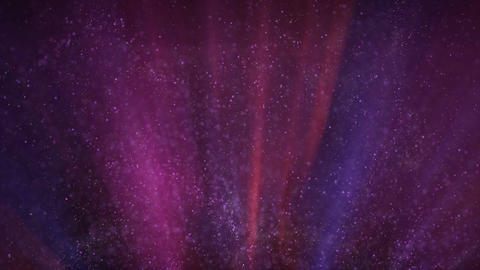 Glowing particles flies in light beams seamless loop Animation