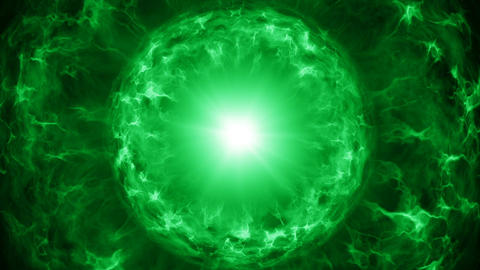Green plasma sphere with energy charges seamles loop animation Animation