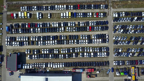 Aerial of new cars and trucks parking Footage