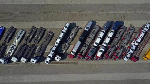 Parked car transporter trucks and trailers Footage