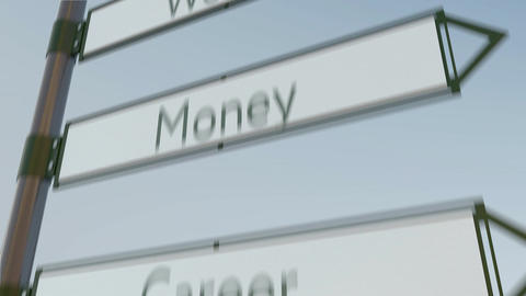 Wealth direction sign on road signpost with different life values captions Footage