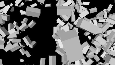 Destruction of a white brick wall on a black background 画像
