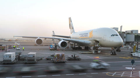 Singapore Airlines A380 airplane being maintained at the airport. Conceptual Footage