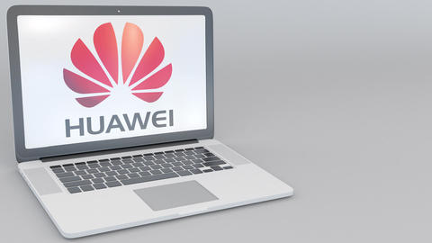 Opening and closing laptop with Huawei logo on the screen. Computer technology Footage