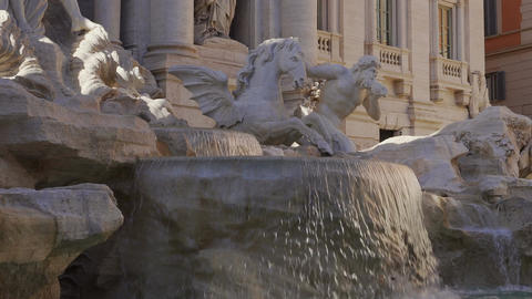 Rome, Italy restored Fontana di Trevi without crowd Footage