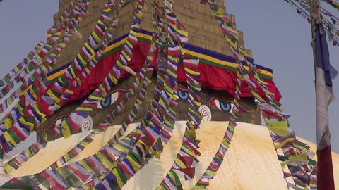 People walk around the Buddhist spiritual center Boudhanath Stupa. Kathmandu, Footage