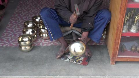 craftsman master working in his workshop. Katmandu, Nepal, December Footage