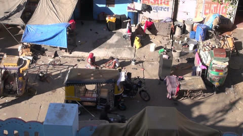 poor people working in Jodphur street in Rajasthan blue city, metal works Footage