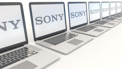 Modern laptops with Sony Corporation logo. Computer technology conceptual Footage