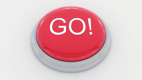 Pushing big red button with go inscription Live Action