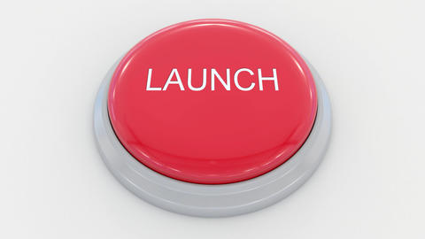 Pushing big red button with launch inscription Live Action