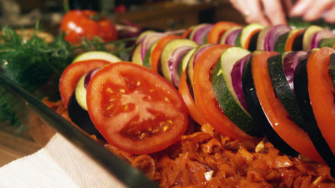 Woman cooking ratatouille at home Footage