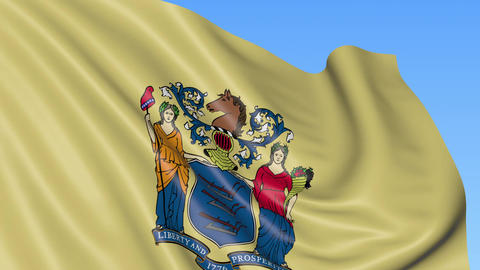 Waving flag of New Jersey state against blue sky Footage