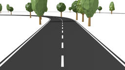 Follow road with trees traffic symbols Animation