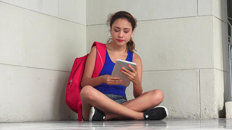 Female College Student Sadness Anger And Stress With Tablet Live Action
