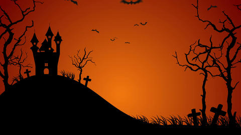 Halloween spooky silhouettes background, Loop Animation