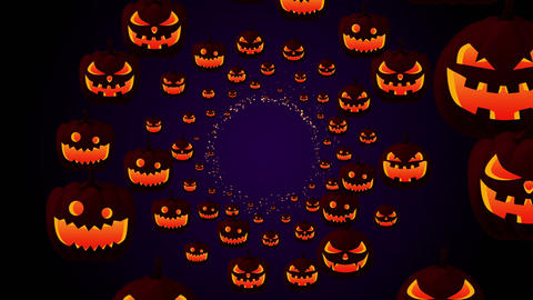 Halloween silhouettes background, Spooky and crazy pumpkins Animation