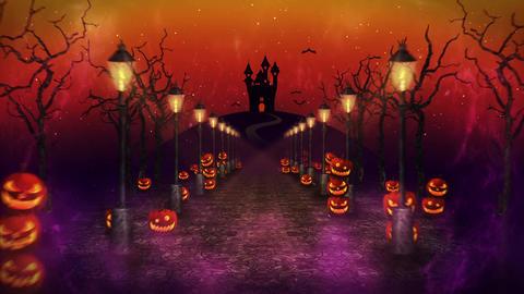 Spooky Halloween night, Pumpkin in a mystic forest, Loop CG動画