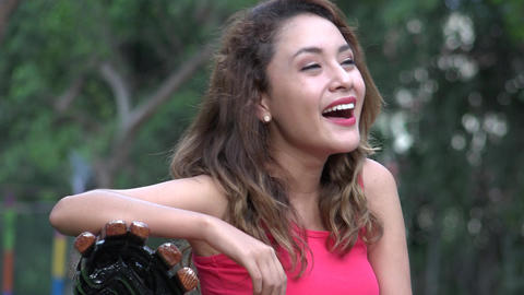 Young Hispanic Woman Laughing Live Action