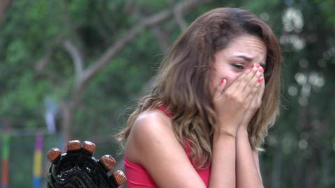 Tearful Hispanic Woman Crying Live Action