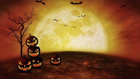 Halloween pumpkin head jack lantern,Spooky night, Loop Animation