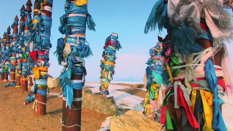 Shaman Pillar On The Winter Baikal Footage