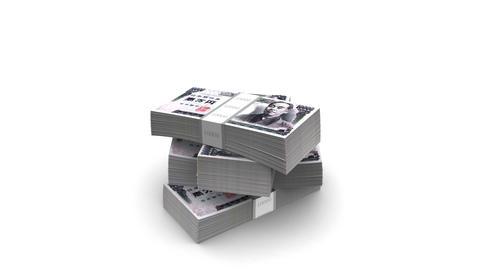 Falling Yen Bills Packs (HD + Alpha) Stock Video Footage