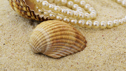 Pearls necklace on sand Stock Video Footage