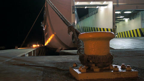 Ferry Loading Cargo During the Night Stock Video Footage
