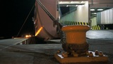 Ferry Loading Cargo During the Night Footage