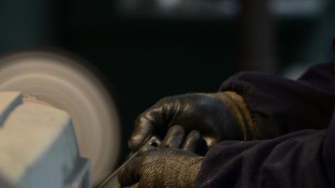 Man polishes aluminum Footage