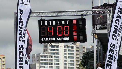 Time panel in the Extreme Sailing Series Stock Video Footage