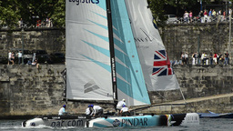 GAC Pindar compete in the Extreme Sailing Series Stock Video Footage