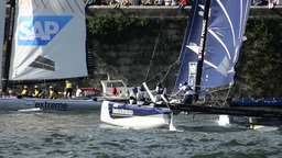 Participants compete in the Extreme Sailing Series Footage