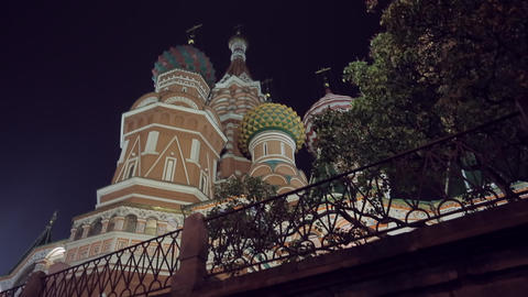Night Red Square slider Stock Video Footage