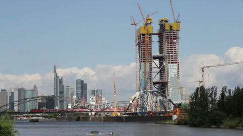Construction of new European Central Bank ECB in... Stock Video Footage