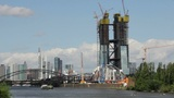 Construction of new European Central Bank ECB in Frankfurt, Germany Footage