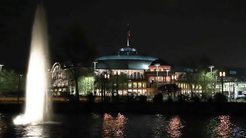 Concert hall Festhalle at night in Frankfurt Germany Stock Video Footage