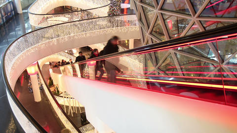 Escalator in shopping center - Time Lapse Stock Video Footage