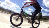 BMX Bike Stunt In Skateboard Park stock footage