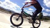 BMX Bike Stunt In Skateboard Park stock footage