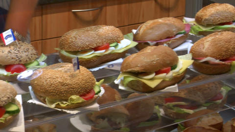 10738 german bakery fresh sanwiches pan ED Stock Video Footage