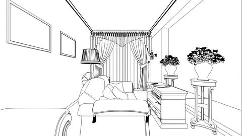 Classic interior creation, wireframe Stock Video Footage