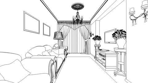Classic interior creation, wireframe Animation