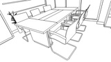 Office interior creation, wireframe Animation